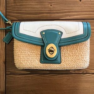 Straw and canvas coach wristlet